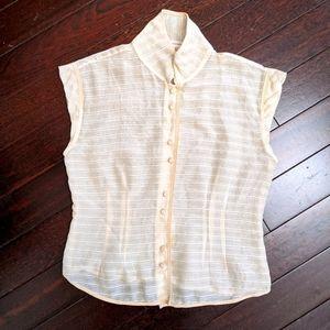 Vintage Marc Jacobs Ivory Silk Stripe Blouse